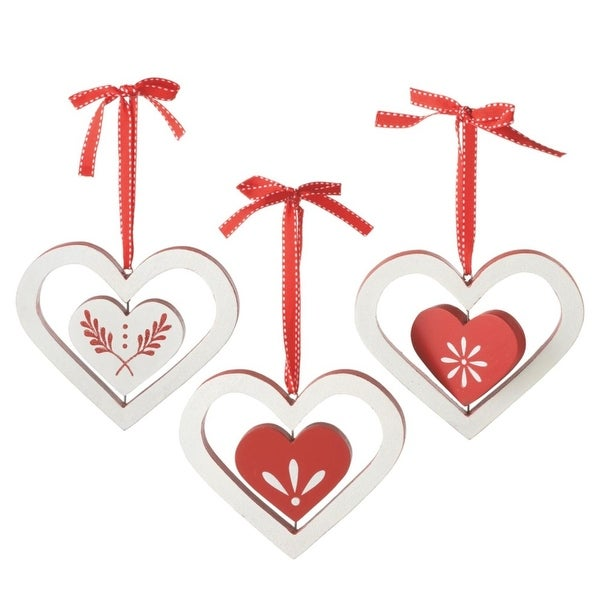 """5.25"""" Alpine Chic Red and White Wooden Heart with Glitter Branches Christmas Ornament"""