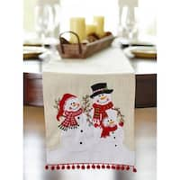 Pack of 2 Red and Tan Decorative Snowman Christmas Table Top Runner 72""
