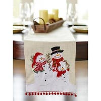 "Pack of 2 Red and Tan Decorative Snowman Christmas Table Top Runner 72"" - White"