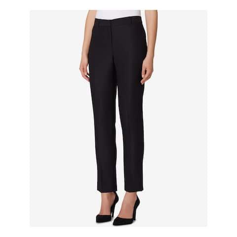 TAHARI Womens Black Straight Leg Ankle Pants Size 12