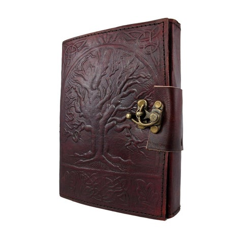 Embossed Leather Tree Of Life 120 Page Unlined Dream Book Journal w/ Lock - brown