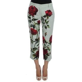 Dolce & Gabbana Green Brocade Roses Print Capri Pants