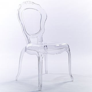 2xhome Clear Transparent Crystal Design Plastic Chairs Side Chairs Dining Chair Modern Desk Accent Bedroom - N/A