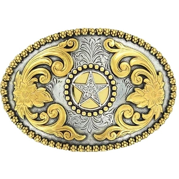 Nocona Western Belt Buckle Oval Texas Star Gold Silver - 2 3/4 x 4