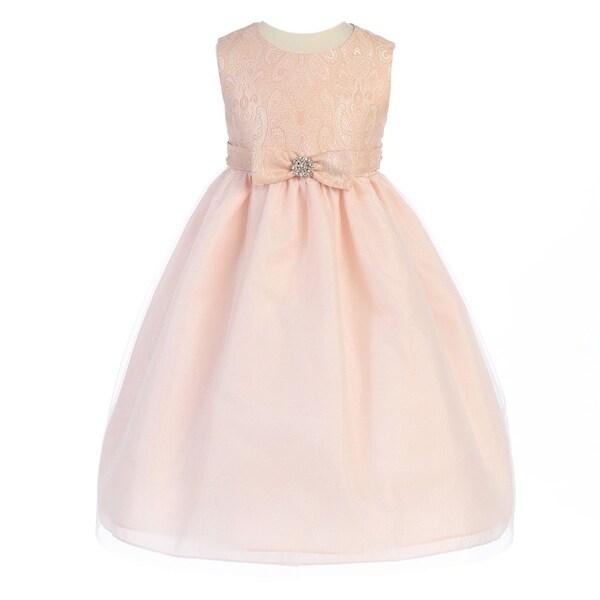 987788b6ca4d Shop Crayon Kids Little Girls Pink Textured Bodice Bow Adorned ...