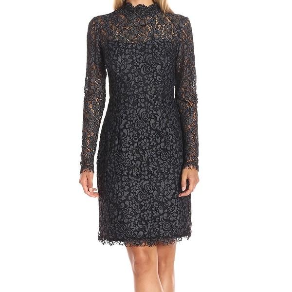 8c36ae54bb04b Betsey Johnson NEW Charcoal Black Womens 4 Mock-Neck Lace Sheath Dress
