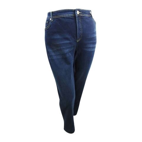 INC International Concepts Women's Plus Size Tummy-Control Straight-Leg Jeans