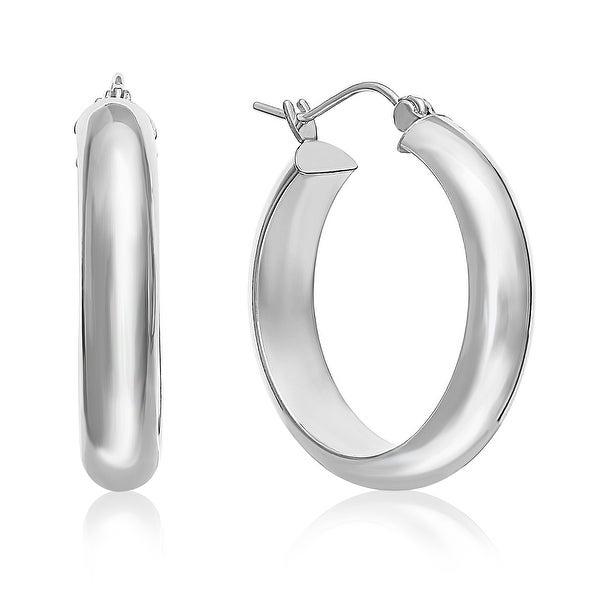 Mcs Jewelry Inc 14 KARAT WHITE GOLD CLASSIC HOOP EARRINGS HALF ROUND 25MM (1 INCH)