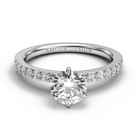 14KT Gold 7/8 Carat Diamond Engagement Ring Round Prong Set Solitaire