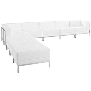 "Chancellor ""Gwen"" White Leather Sectional Sofa Sets 11, 9pcs"