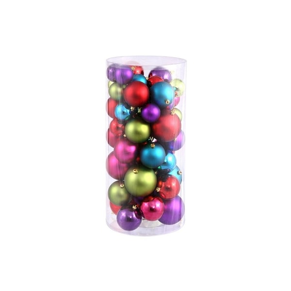 """50ct Vibrantly Colored Shatterproof Shiny and Matte Christmas Ball Ornaments 2.4""""-3""""-4"""" - PURPLE"""
