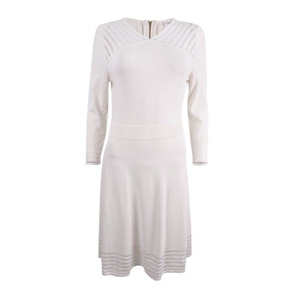 20f9bcab26d Shop Calvin Klein Women s Illusion-Stripe Fit   Flare Sweater Dress ...