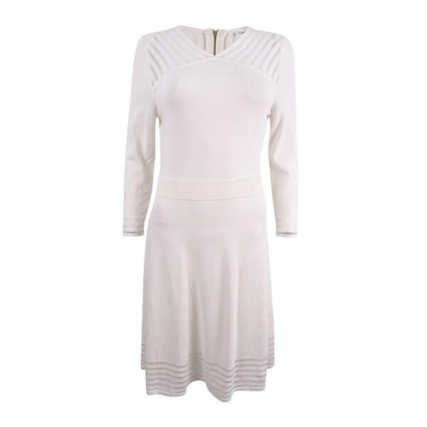 Shop Calvin Klein Women S Illusion Stripe Fit Amp Flare