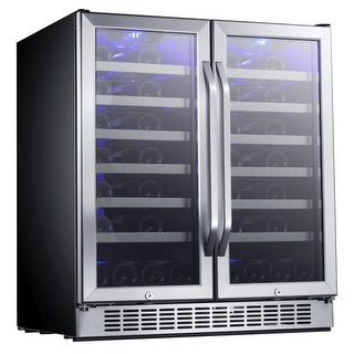 edgestar cwr5631fd builtin 30 inch wide 56 bottle capacity french door wine cooler with