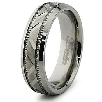 6.5mm Diamond Cut Titanium Ring (Sizes 7-12)