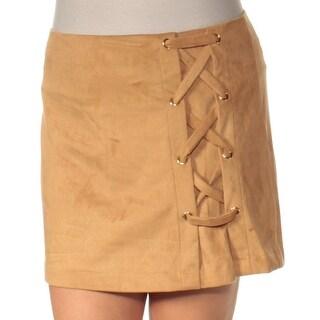 KENSIE $59 Womens New 1406 Beige Mini A-Line Casual Skirt L B+B