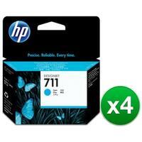 HP 711 29-ml Cyan DesignJet Ink Cartridge (CZ130A)(4-Pack)