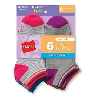 Hanes Girls' Fashion ComfortBlend No-Show Socks 6-Pack - M