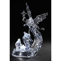 "12"" Clear Icy Crystal LED Lighted Angel with Holy Family Christmas Tabletop"
