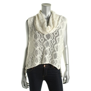 Free People Womens Lace Cowl Neck Casual Top