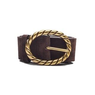 Miu Miu Vintage Women's Gold Braided Loop Calf Leather Belt Brown - 90