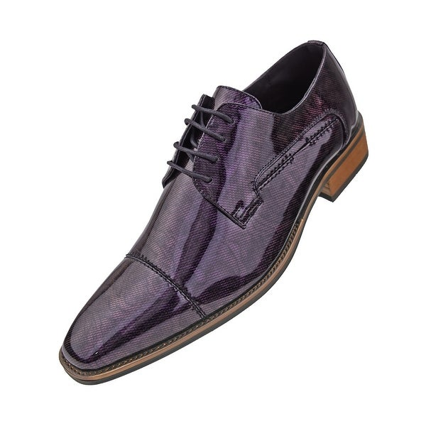 Amali Men  x27 s High Shine Tuxedo Cap Toe Oxford Dress Shoes - Purple 0821bcae03bb