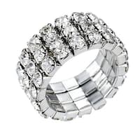 Sparkly Three-Row Crystal Rhinestone Stretch Fashion Finger Ring, by JADA Collections