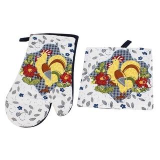 Chicken Floral Print Microware Oven Heat Resistance Glove w Mat