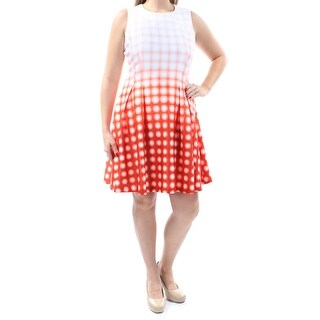 Womens Orange Sleeveless Above The Knee Fit + Flare Casual Dress Size: 12