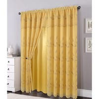 Ella Embroidered Panel with Attached Valance & Backing, Gold, 54x84+18 Inches