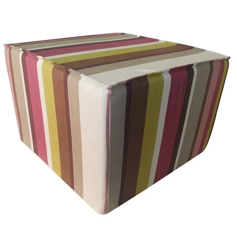 Jiti Multi-color Striped Transitional Handmade Pouf/Ottoman