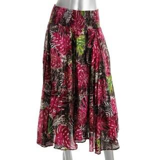 Grace Elements Womens Printed Handkerchief Hem Maxi Skirt - S