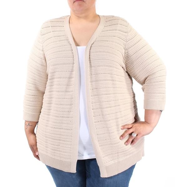 Womens Beige Cuffed Open Casual Sweater Size XL