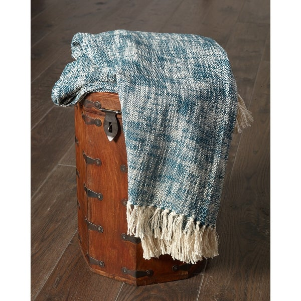 Blue Boho Chambray Throw Blanket with Fringe. Opens flyout.
