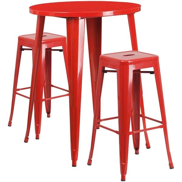 Brimmes 3pcs Round 30u0026#x27;u0026#x27; Red Metal Table w/  sc 1 st  Overstock.com & Brimmes 3pcs Round 30u0027u0027 Red Metal Table w/2 Square Seat Backless ...