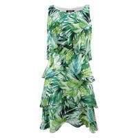 SL Fashions Women's Printed Tiered Shift Dress - Green Multi