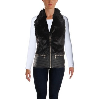Guess Womens Piper Outerwear Vest Fall Faux Fur