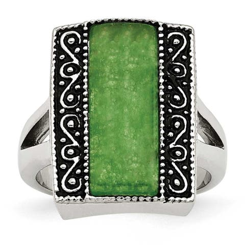 Chisel Stainless Steel Synthetic Jade Antiqued Rectangular Ring (17 mm)