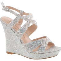 De Blossom Alle-8 High Heel Wedge Sandal With Crystal Embellishment Style Balle8