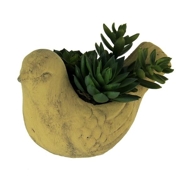 Artificial Succulent Plants In Ceramic Bird Planter - 4.25 X 6.25 X 4.25 inches