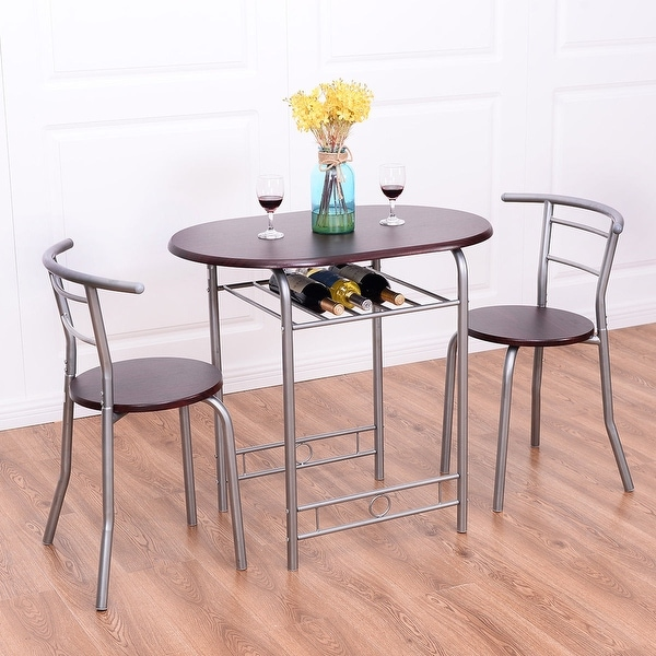 Costway 3 PCS Bistro Dining Set Table and 2 Chairs Kitchen Pub Home Furniture Restaurant