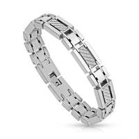 Five White Carbon Fiber Inlay Links Stainless Steel Bracelet  (12 mm) - 8.25 in
