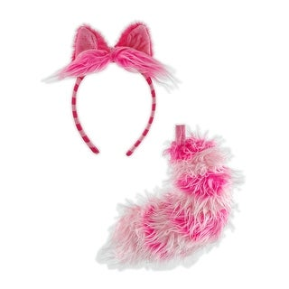 Alice In Wonderland Cheshire Cat Kid and Adult Costume Headband and Tail Unisize - Pink