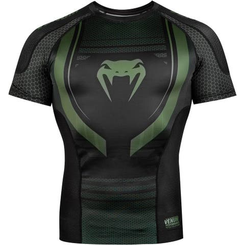 Venum Technical 2.0 Short Sleeve Compression Rashguard - Black/Khaki