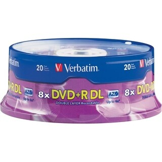 Verbatim 95310 Verbatim DVD+R DL 8.5GB 8X with Branded Surface - 20pk Spindle - 8.5GB - 20pk Spindle
