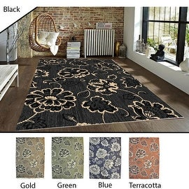 5x8 Feet Black Gold Green Blue Terracotta Modern Contemporary Indoor Outdoor Area Rug Carpet