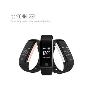 TechComm X9 Water-resistant Fitness Tracker with USB Direct Charge, Reminders, Heart Rate Monitor, Pedometer and Sleep Monitor|https://ak1.ostkcdn.com/images/products/is/images/direct/61b76cf002e346f5e4e5b75295b2d5ef3e0195a9/TechComm-X9-Water-resistant-Fitness-Activity-Tracker-with-Heart-Rate-Monitor%2C-Pedometer%2C-Sedentary-Reminder-and-Sleep-Monitor.jpg?impolicy=medium