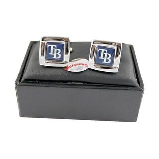 MLB Tampa Bay Rays Square Cufflinks with Square Shape Logo Design Gift Box Set
