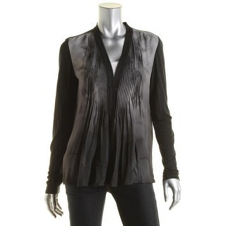 Elie Tahari Womens Willow Silk Open Front Blouse