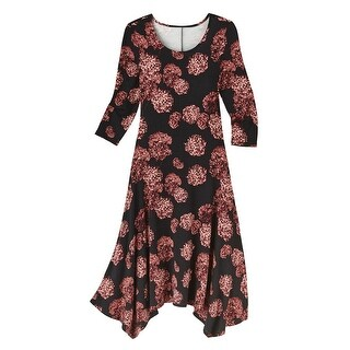 Women's Maxi Dress - Floating Hydrangea Knit Print 3/4 Sleeves